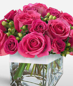 Pink Roses In Cube-Pink,Rose,Arrangement