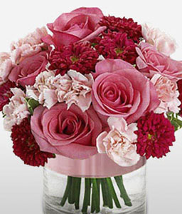 Radiant Blooms-Mixed,Pink,Red,Carnation,Mixed Flower,Rose,Arrangement