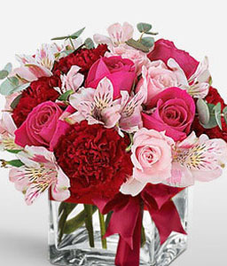 Enchanting Blooms-Mixed,Pink,Red,Alstroemeria,Carnation,Mixed Flower,Rose,Arrangement