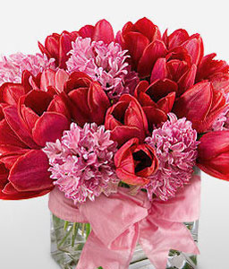Luscious-Pink,Red,Tulip,Arrangement