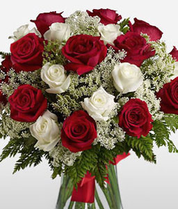 Perfection-Green,Red,White,Rose,Arrangement