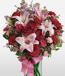 Starlit Scarlet-Pink,Red,Carnation,Lily,Mixed Flower,Rose,Arrangement