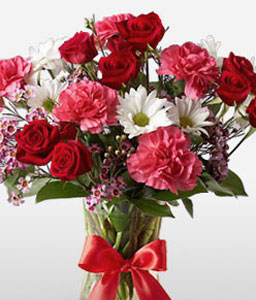 Fantasy-Pink,Red,Yellow,Carnation,Chrysanthemum,Daisy,Rose,Arrangement