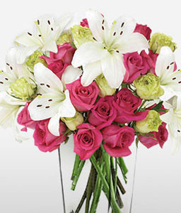 Broadways Best-Pink,White,Lily,Rose,Arrangement