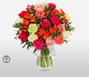 Bright Beauty-Green,Mixed,Orange,Pink,Red,White,Carnation,Rose,Bouquet
