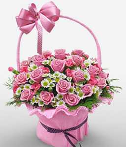 2 Dozen Pink Roses In Basket-Pink,White,Carnation,Rose,Basket