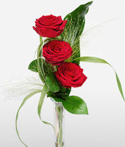 Three Wishes - 3 Red Roses-Red,Rose,Arrangement