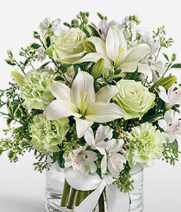 Silver Bells-Green,White,Alstroemeria,Carnation,Lily,Mixed Flower,Rose,Arrangement