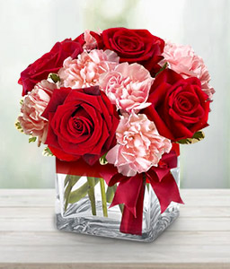Jaime-Pink,Red,Carnation,Rose,Arrangement