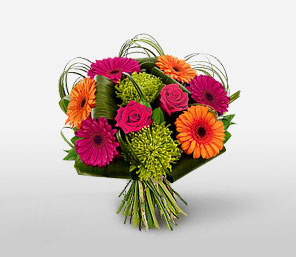 Carnival-Green,Mixed,Orange,Red,Dahlia,Gerbera,Rose,Bouquet