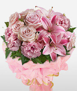 Mixed Flowers Bouquet-Pink,Carnation,Lily,Rose,Bouquet