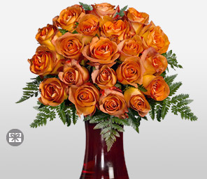 Gold Charm  18 Coffee Break Roses <font color=red>Free Coloured Vase</font>