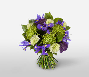 Misty Lake-Blue,Green,Purple,Carnation,Iris,Bouquet