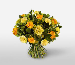 Gold And Green-Orange,Yellow,Carnation,Rose,Bouquet