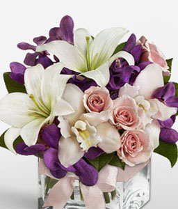 Graceful Blossoms-Mixed,Purple,White,Carnation,Mixed Flower,Orchid,Rose,Arrangement