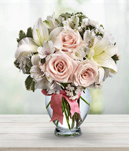 Sugar Cube-Pink,White,Rose,Lily,Alstroemeria,Bouquet