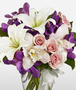 Magical Charm-Blue,Lavender,Mixed,Orange,Pink,Purple,Violet,White,Rose,Orchid,Mixed Flower,Lily,Bouquet