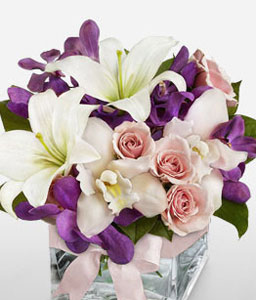 Blooming Elegance-Mixed,Pink,Purple,White,Rose,Orchid,Mixed Flower,Lily,Arrangement