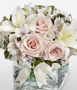 Sugar Cube-Pink,White,Lily,Rose,Arrangement