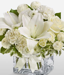 Sweet Smile-White,Carnation,Chrysanthemum,Lily,Mixed Flower,Rose,Arrangement