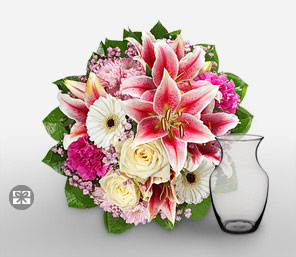 Rosa Feier-Pink,White,Yellow,Carnation,Chrysanthemum,Daisy,Gerbera,Lily,Mixed Flower,Rose,Arrangement