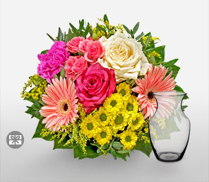 Regenbogen-Pink,White,Yellow,Rose,Mixed Flower,Gerbera,Daisy,Chrysanthemum,Carnation,Arrangement
