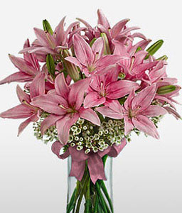 Blushing Liliacs-Pink,Lily,Arrangement