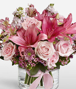 Pink Arena Complimentary Vase-Pink,Purple,Rose,Mixed Flower,Lily,Chrysanthemum,Arrangement