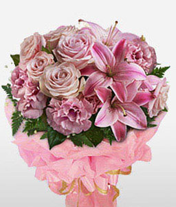 Rosa Forras-Pink,Rose,Mixed Flower,Lily,Carnation,Bouquet