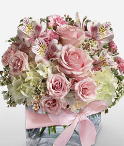 Flores En Rosa-Pink,Carnation,Hydrangea,Mixed Flower,Rose,Alstroemeria,Arrangement