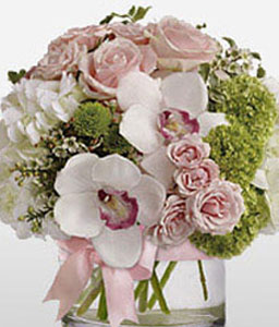 Stylish Arrangement-Green,Mixed,Pink,White,Chrysanthemum,Hydrangea,Mixed Flower,Orchid,Rose,Arrangement