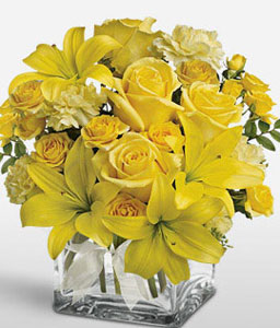 Yellow Blossoms-Yellow,Carnation,Lily,Rose,Arrangement