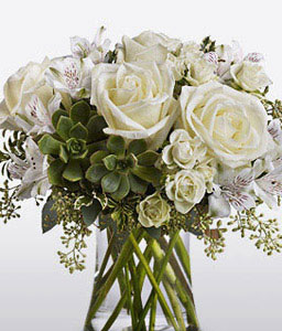 White Wonder-White,Alstroemeria,Rose,Arrangement