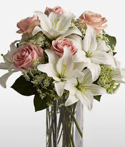Summer Radiance-Mixed,Pink,White,Rose,Mixed Flower,Lily,Arrangement