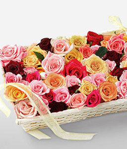 Bed Of Roses-Mixed,Peach,Pink,Red,Yellow,Rose,Arrangement,Basket