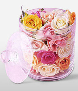 Enchanted Glass-Mixed,Peach,Pink,White,Yellow,Rose,Arrangement