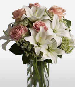 Summer Magic-Pink,White,Lily,Rose,Arrangement