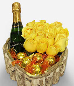 Mi Carazon-Yellow,Chocolate,Rose,Wine,Arrangement,Basket,Hamper