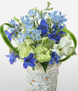 Skylark-Blue,Green,Mixed,Carnation,Mixed Flower,Orchid,Rose,Arrangement