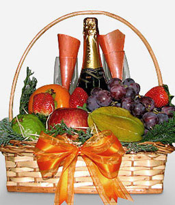 Fruits And Champagne Hamper-Fruit,Wine,Basket,Hamper