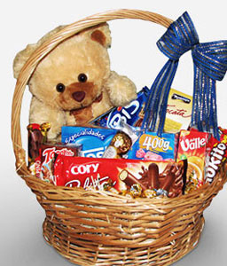 Hugs And Kisses-Chocolate,Teddy,Basket,Hamper