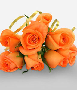 Pure Glow - 7 Orange Roses-Orange,Rose,Bouquet