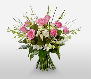Special Celebration-Green,Pink,White,Orchid,Rose,Bouquet
