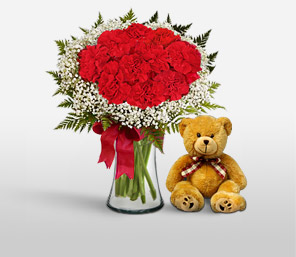 Christmas Carnations <Br><Font Color=Red>Sale $15 Off + Free Teddy Bear</Font>