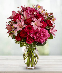 Mixed Flowers Arrangement-Pink,Red,Alstroemeria,Hydrangea,Lily,Rose,Arrangement