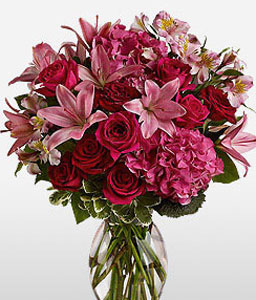 Cerise Medley-Pink,Purple,Red,Alstroemeria,Hydrangea,Lily,Mixed Flower,Rose,Arrangement