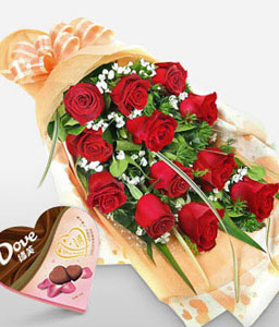 Perfect Love-Red,Chocolate,Rose,Bouquet