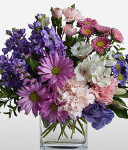 Assorted Merriment-Mixed,Pink,Purple,White,Mixed Flower,Chrysanthemum,Carnation,Alstroemeria,Arrangement