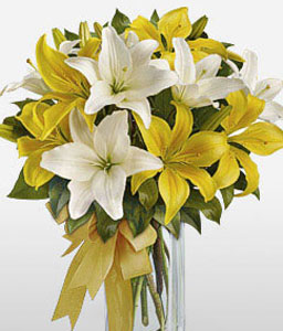 Spring Awakening-White,Yellow,Lily,Arrangement