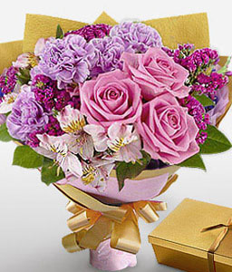 Carnegie-Lavender,Mixed,Pink,Purple,White,Alstroemeria,Carnation,Chocolate,Rose,Bouquet